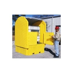 UltraTech Polyethylene Ultra-IBC Hard Top Spill Pallet with Drain, 8500 lbs Capacity, 5 Year Warranty, Yellow