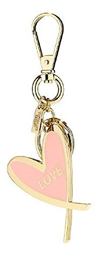 - Victoria's Secret Charmed Gilded Love Heart Keychain Pink/ Gold