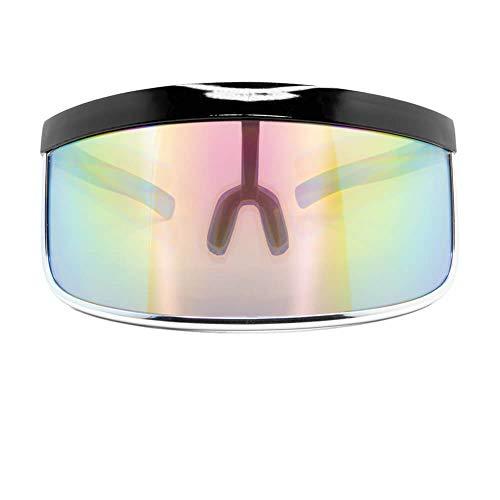 GloFX Diffraction Visor Glasses - Rainbow Mirror - Oversized Flat Futuristic Shield Mono Galactic Invader
