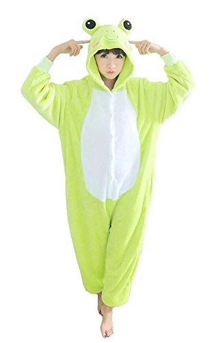 [Unisex Adult Green Frog Kigurumi Animal Onesie Pajamas Costume Cosplay Clothing Sleepwear Romper] (Role Reversal Halloween Costumes)