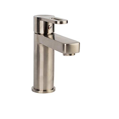 MAYKKE Allegro Single Hole Sink Faucet, Brushed Nickel Modern Single Lever Faucet for Bathroom Lavatory, Kitchen, 1.2 GPM, cUPC certified FYA1080102