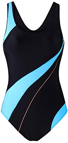 EBMORE Womens One Piece Swimsuit Bathing Suit Chlorine Resistant for Athletic Sport Training Exercise (US (0-2), Black & Light Blue)