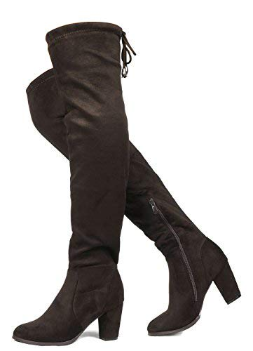 Leather Thigh High Boots Brown - DREAM PAIRS HIGHLEG Women's Thigh High Fashion Over The Knee Drawstring Strech Block Mid Heel Boots Brown-SZ-6