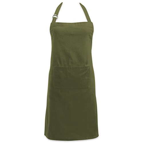 DII 100% Cotton Kitchen Chef Apron with Pocket, Unisex Bib Apron, Adjustable Neck & Waist Ties, Durable, Comfortable, perfect for Cooking, Baking, Crafting, Work Shop & BBQ- (Holiday Sage)