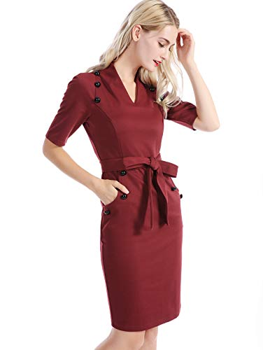 CHICIRIS Women's Retro Chic Colorblock Lapel Career Tunic Dress Size S Wine Red