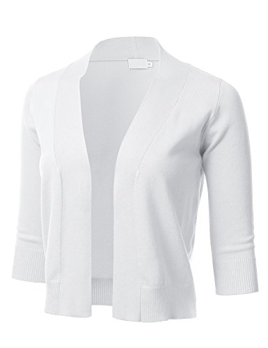 Womens Shrug - FLORIA Womens Classic 3/4 Sleeve Open Front Cropped Cardigan White M