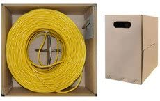 QualConnectTM Bulk Cat5e Yellow Ethernet Cable Pullbox 1000 ft Solid UTP Unshielded Twisted Pair