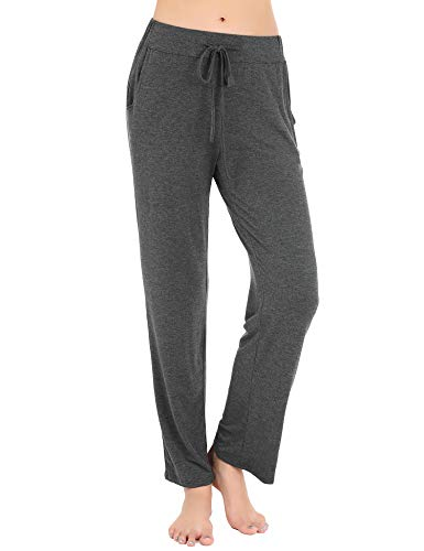 Solid Womens Sleep Pant - FISOUL Women's Casual Pajama Pants Comfy Soft Stretch Solid Drawstring Wide Leg Loose Lounge Pants