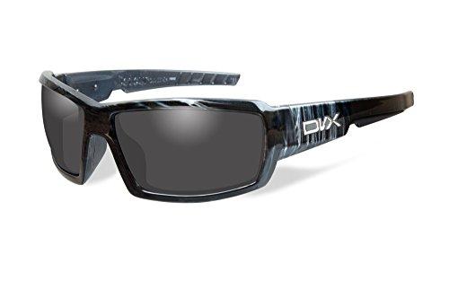 DVX by Wiley X -DETOUR- SUN & SAFETY GLASSES- GREY LENSES/BLACK & WHITE STREAK - Eyewear Wiley