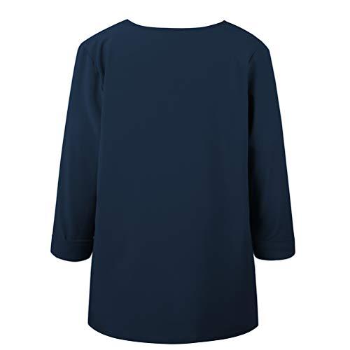 Longues Shirt Chic Marine Femme Top Manches Up Haut Casual Mode T Blouse Chemisier Tunique Button EgqnC