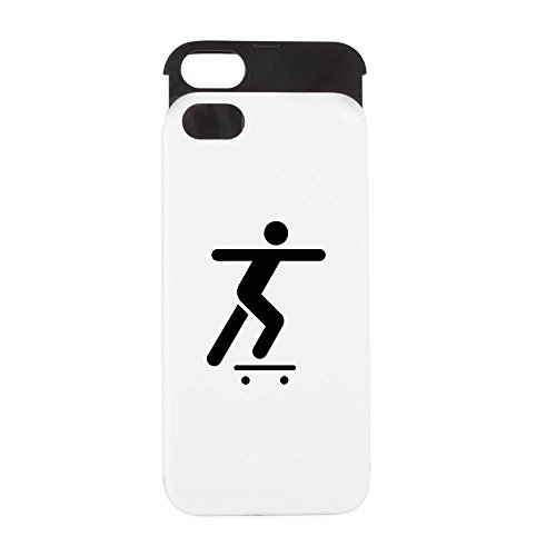 Price comparison product image iPhone 5 or 5S Wallet Case White and Black Skateboard Skater Traffic Symbol