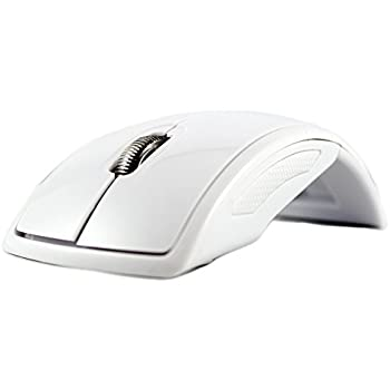SANOXY USB 2.4Ghz Snap-in Transceiver Wireless Optical Mouse Foldable Folding Arc Wireless Mouse for PC Laptop Computer-WHITE