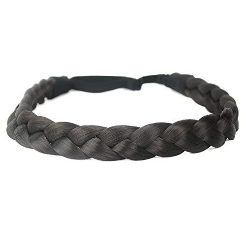 DIGUAN Synthetic Hair Braided Headband Classic Chunky Wide Plaited Braids Elastic Stretch Hairpiece Women Girl Beauty accessory, 55g aHairBeauty (#Dark -
