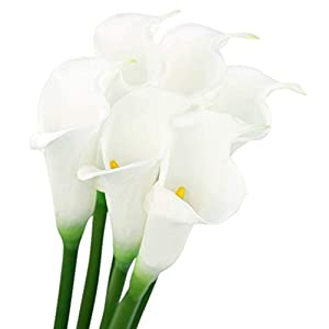 Floral Kingdom 25″ Large Handmade Real Touch PU Latex Calla Lilly Artificial Spring Flowers for Floral Arrangements, Bouquets, Home/Office Decor (6 Pack) (White)