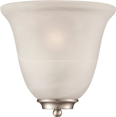MONUMENT DECORATIVE WALL SCONCE, ALABASTER GLASS, 9-5/8 X 10 IN., USES 1 60-WATT MEDIUM-BASE INCANDESCENT LAMP