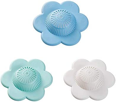 3Pcs Flower Silicone Hair Stopper Drain Stopper 2in1 Bathroom Drain Stopper Cover Shower Drain Covers Stopper Easy to Install and Clean Suit for Bathroom Bathtub and Kitchen (White+Blue+Dark blue)