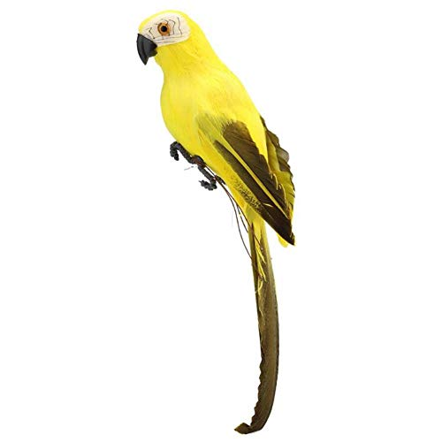 Feathered Bird Ornament - lwingflyer Feather Parrot Artificial Bird for Modern Home Garden Zoo Ornament Decoration Colorful (9.84inch(25cm), Yellow)