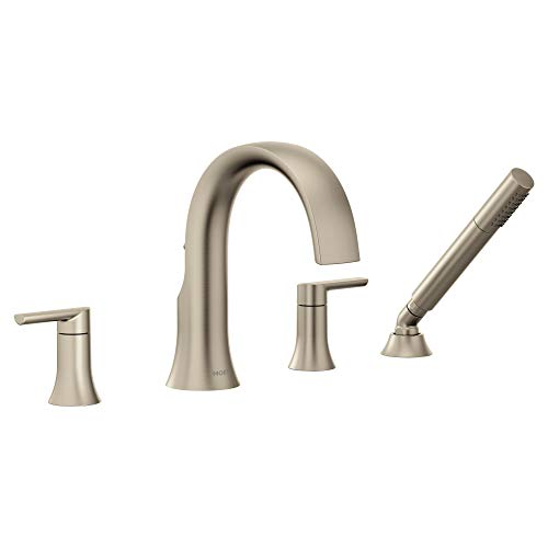 Moen TS984BN Doux Collection Two-Handle Widespread High Arc Roman Tub Faucet with Sprayer, Brushed Nickel