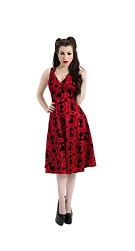 Red Jawbreaker Cameo Cocktail Flocked Flocked Dress Jawbreaker Flare Dress WOqHg6Oaw