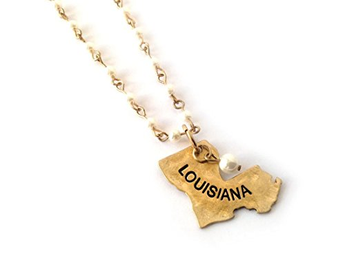 Antique State Map Pearl Link Necklace (Louisiana Gold) - Louisiana Antique Map