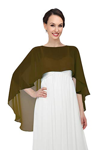 Shawls and Wraps for Evening Dresses Chiffon Wedding Capes Soft Shrugs Brown