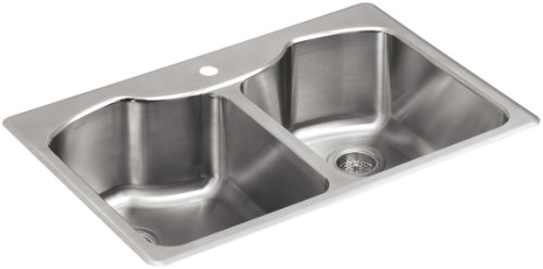 KOHLER K-3842-1-NA Octave Top-Mount Double-Equal Bowl Kitchen Sink with Single Faucet Hole, Stainless Steel (Kohler Bowl Rimming Double Self)