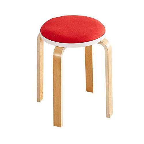 Taburete de cocina, comedor, silla redonda, taburete de madera, 4 patas antipolvo, taburete de maquillaje Dressing, soporte para restaurante, muebles de salon Heavy Duty rojo