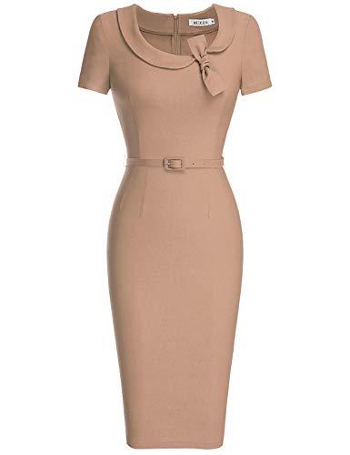 MUXXN Lady Classic Peter Pan Collar Belt Waist Summer Cute Pencil Dress (Camel XL)
