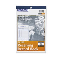 ** Receiving Record Book, 5 1/2 x 7 7/8, Three-Part Carbonless, 50 Sets/Book **