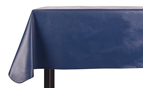 Galaxy Satin Finish - Yourtablecloth Heavy Duty Vinyl Rectangle or Square Tablecloth - 6 Gauge Heavy Duty Tablecloth - Flannel Backed - Wipeable Tablecloth with Vivid Colors & Many Sizes 52 x 90 Navy