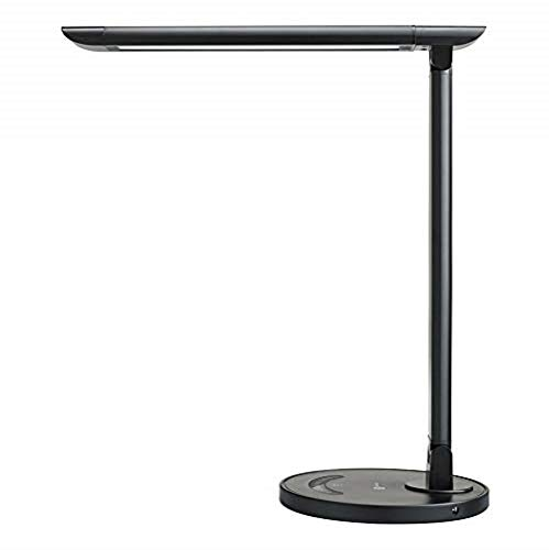 Touch Sensitive Lcd - TaoTronics TT-DL13B LED Desk Lamp Eye-caring Table Lamps, Dimmable Office Lamp with USB Charging Port, Touch Control, 12W, 5 Color Modes, Philips EnabLED Licensing Program (Black)