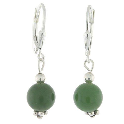 (Sterling Silver 8mm Gemstone Bead Lever Back Bottom Dot Flower Earrings, Nephrite Jade)