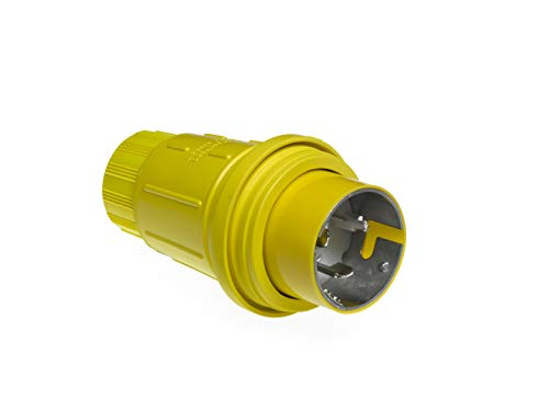 Woodhead 63W65 Watertite Wet Location Locking Blade Plug, 4 Wires, 3 Poles, Yellow, 50A Current, 125/250V ()