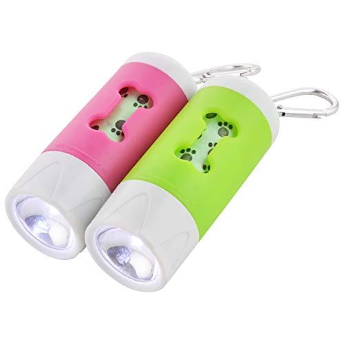 LPET 2Packs LED Flashlight Dog Waste Bag Dispenser Holder with Pet Waste Bag Poop Roll Bags