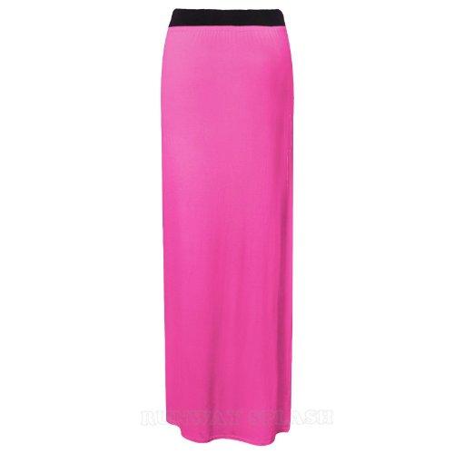 14 Femmes Jersey Robe Uni Taille Ladies Fuchsia Long Élastique Jupe Gypsy Maxi 8 FFPUB