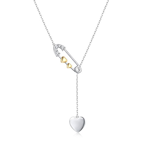 Ladytree Long Chain Sweater Necklace Sterling Silver Two Tone Heart Adjustable Y Necklace for Women Girls,18