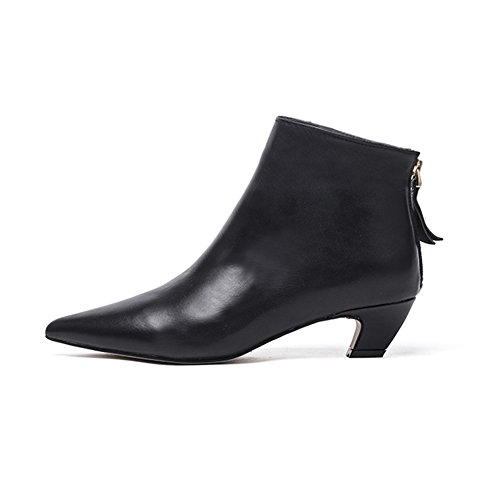Calfskin Suede Heels - Women's Elegant Pointed Toe Ankle Booties Low Block Heel Back Zipper Sleek Simple Black Calfskin Boots (7.5, Black Smooth Leather)