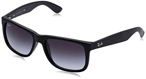 - Ray-Ban RB4165 Justin Rectangular Sunglasses, Black Rubber/Grey Gradient, 55 mm