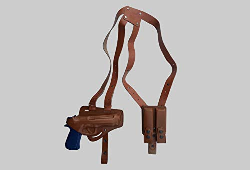 - KHS303 Horizontal Shoulder & Belt Holster (2in1) Thumb Break RH with Double Magazine Pouch for Beretta 92 96 B803 Taurus 92&99 Handmade! Free Extension for Big Body Size! (Brown)