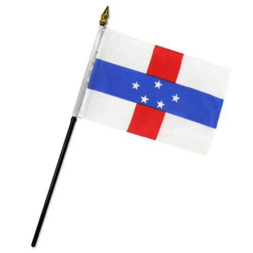 Note Netherlands Antilles (Moon Knives Netherlands Antilles Holland 4''x6'' Flag Desk Table Stick - Party Decorations Supplies For Parades - Prime Outside, Garden, Men Cave Decor Flag)