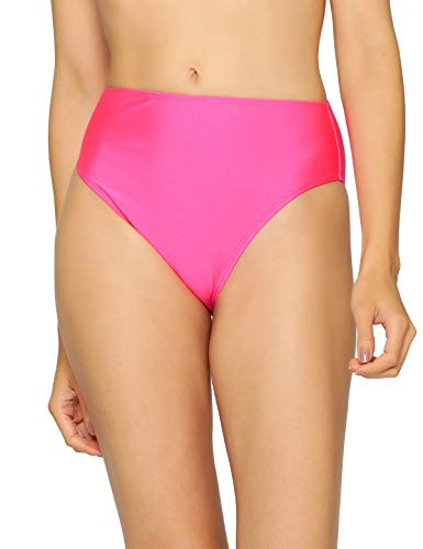 RELLECIGA Women's Neon Rose High Cut High Waisted Bikini Bottom Size Small