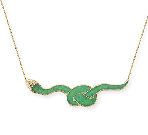 Gold Plated Silver Snake Necklace Python Pendant Polymer Clay Green Reptile Jewelry, 16.5