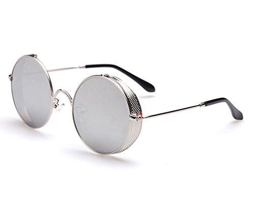 Tansle Round Lens Sunglasses Metal Frame With Hollow Side Barrier 4 Colors Available