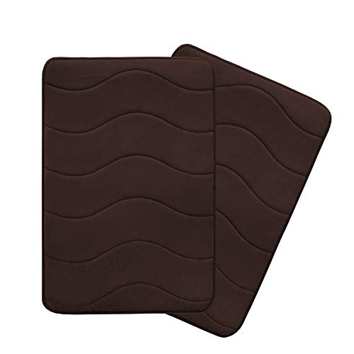 Flamingo P Microfiber Memory Foam Fieldcrest Luxury Bath Rugs Absorbent Soft Comfortable Thick Machine Wash Easier to Dry for Bathroom Floor Rug, 17-Inch by 24-Inch, Brown, Waved Pattern, Two Pieces
