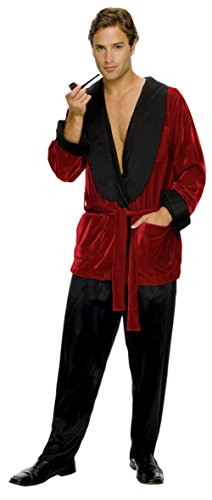 Playboy Magazine Hugh Hefner Smoking Jacket Adult Mens Costume Robe Red Party, X-Large (Hugh Hefner Jacket)