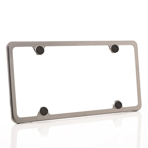 One Black Smoke Chrome Titanium Gun Metal T304 Stainless Steel Four Hole Slim License Plate Frame Holder Front Or Rear Bracket with Aluminum Screw Cap