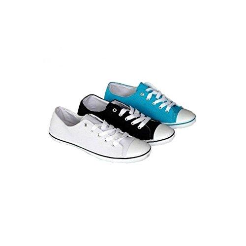 Schuhzoo - Canvas Street Sneaker Schnürschuhe Weiß Schwarz Blau Größe 36-41 Blau