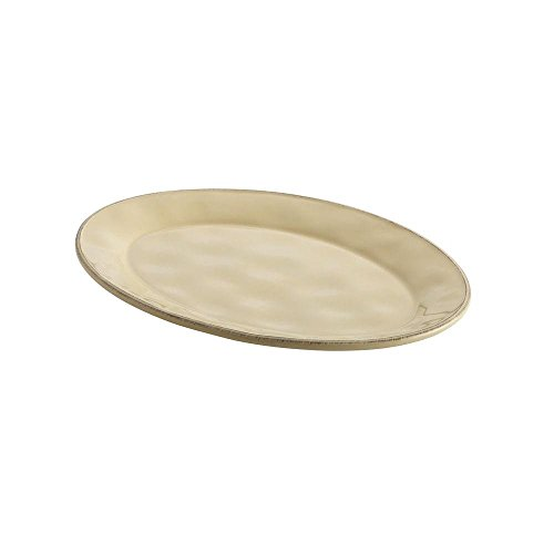 "Cucina Dinnerware 10 "" x 14 "" Stoneware Oval Platter in Almond Cream"
