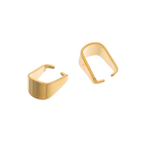 VALYRIA 10pcs Stainless Steel Pinch Bail Clip Gold Plated for Jewelry Making 10x7mm