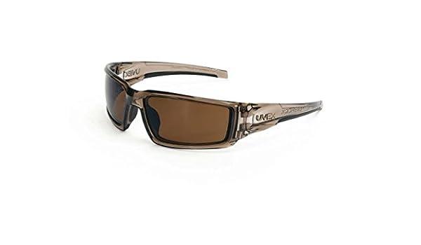 Uvex Hypershock Safety Glasses Smoke Brown Frame Gold Mirror Lens